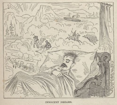 Young Twain Dreaming of his Western Adventures an early illustration from Roughin' It.