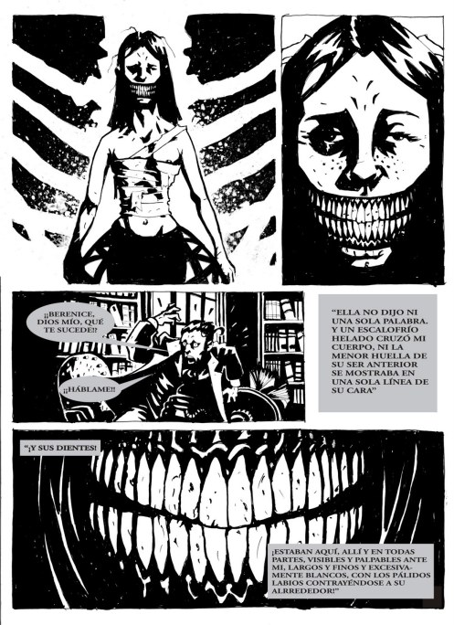 "Omar Hirsig's comic adaptation of Poe's ""Berenice"""