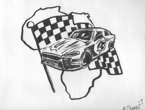 Daytona Darrell Wallace Nascar Tribute Africa Brush Pen Drawing.jpg